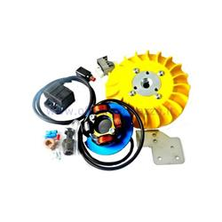 Ignition Parmakit variable advance cone 57022.22 - 19 kg with flywheel machined from solid for Vespa 1,5 - ET50 - Primavera - PK (yellow fan)