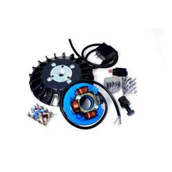 57098.22 - Parmakit ignition with variable advance cone 19 - 1.0 kg with flywheel machined from solid for Vespa 50 - ET3 - Primavera - PK (carbon look fan)
