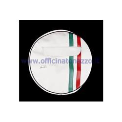 "P90230HBIANCO - White spare wheel cover with tricolor band and document pocket for 10 ""rim"