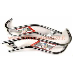10 / R - Chrome double tube body protector for Vespa PX - PE (RED COLOR)