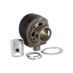 19874600 - Zylinder PIAGGIO von SIP 125 ccm für Vespa 125 VNB / GT / GTR 1 ° / Super, Ø 52,5 mm, Sphäroguss, 2 Transferöffnungen, 57 mm Hub, 2 Kolbenringe, 3 ° geschlossene Übertragung mit Distanzstück