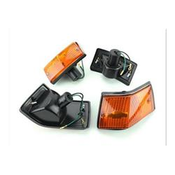 Direction indicator kit with orange glass and black frame for Vespa PX-PE-T5