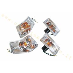Turn signal kit with transparent glass and chromed frame for Vespa PX - PE - T5