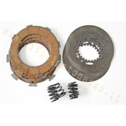 6665 - Clutch 4 cork disks with intermediate disks and 7 springs for Vespa Rally - SS180 - GS160 - T5 - PX 200
