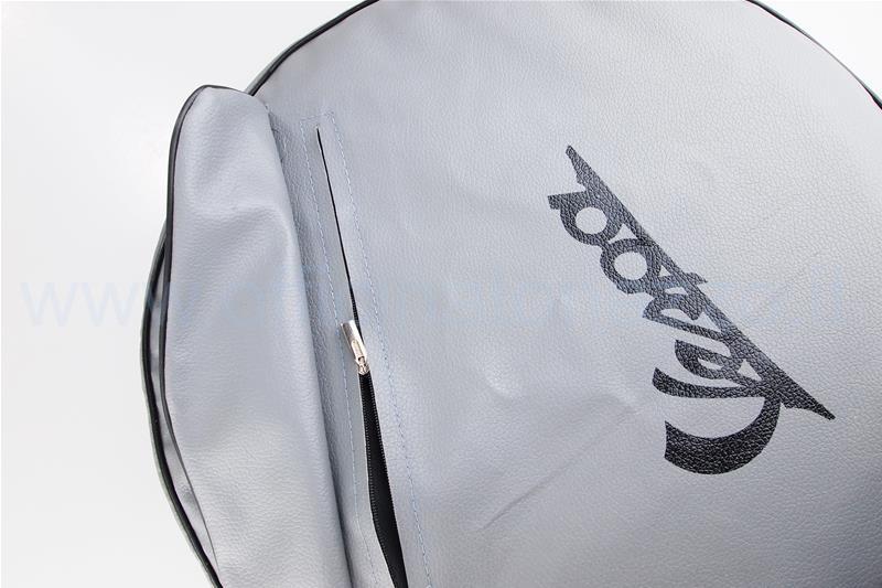 """00110 - Cache roue de secours gris avec écriture Vespa noire et pochette pour documents pour jante 8 """""""