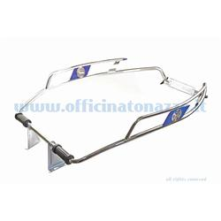 CU61B - Chrome-plated body protector with blue logo for Vespa GT - GTR - Rally - GL