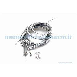 Gray cables / sheaths kit with internal self-lubricating sheath with front brake adjuster for Vespa PX Arcobaleno