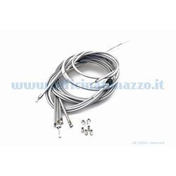 Kit für graue Kabel / Ummantelungen mit selbstschmierendem Innenmantel mit vorderem Bremsregister für Vespa PX Arcobaleno