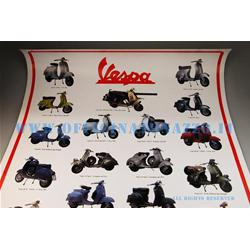 00102 - Vespa poster with models from 1945 to 1979 measuring 70 x 100 cm