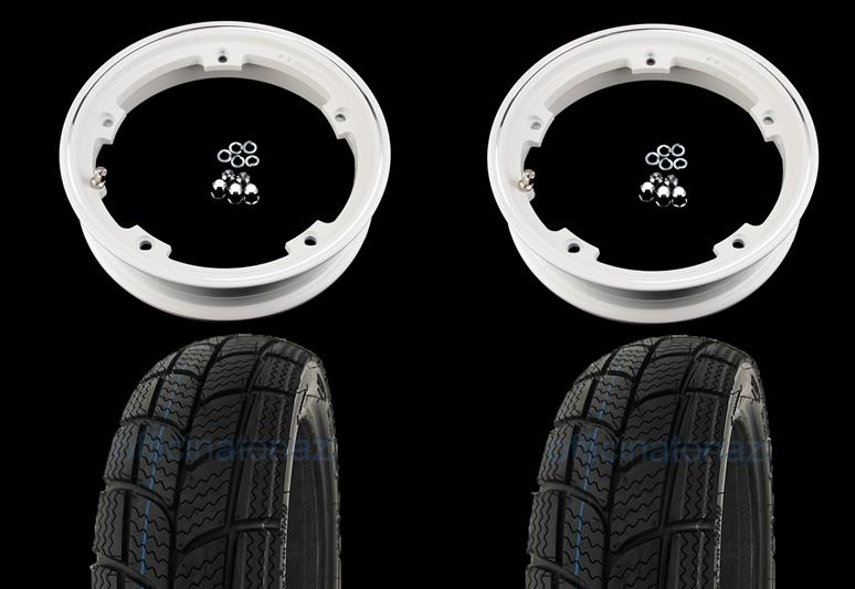 - Pair of pre-mounted wheels complete with 2.10x10 white tubeless rim with Kenda K701 tubeless winter tire 3.00 x 10 - 47L M + S