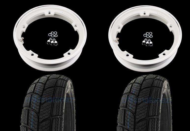 - Paar vormontierte Räder mit weißer Tubeless-Felge 2.10x10 und schlauchlosem Winterreifen Kenda K701 3.50 x 10 - 47L M + S.