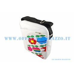 VPSB71 - Vespa shoulder bag with internal pc protection, white color with apples