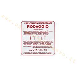 "ST0552 - Adhesivo Vespa ""Running in 2%"" - 4 velocidades rojo"