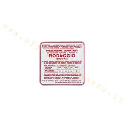 "ST0558 - Adhesivo Vespa ""Running in 6%"" - 4 velocidades, rojo"