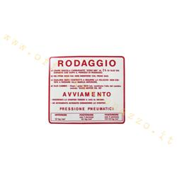 "gra04 - Adhesivo Vespa ""Rodaggio 2%"", color rojo"