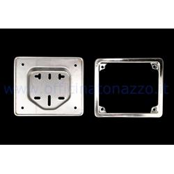 278VM167 - Iron license plate holder with stainless steel frame for Vespa 50