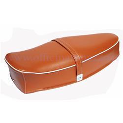 P0030-MARRONE - Zweisitzer-Sattel mit brauner Feder ohne Schloss für Vespa 50 L - Primavera