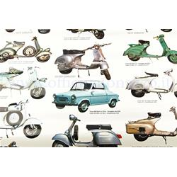 610103M - Vespa poster with various models, size 70x100 (610103M)