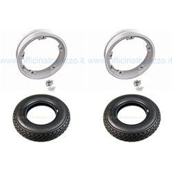 5705 - Par de ruedas premontadas completas con llanta tubeless gris 2.10x10 con neumático Michelin S83 tubeless 3.00 x 10