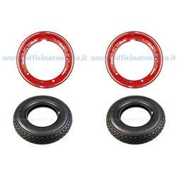 5708 - Par de ruedas premontadas completas con llanta tubeless roja 2.10x10 con neumático Michelin S83 tubeless 3.00 x 10