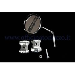 E15 - Round right or left rear view mirror chromed for Vespa shield