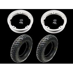 - Pair of pre-mounted wheels complete with 2.10x10 white tubeless rim with IRC tubeless 3.50 x 10 winter tire - 59J M + S